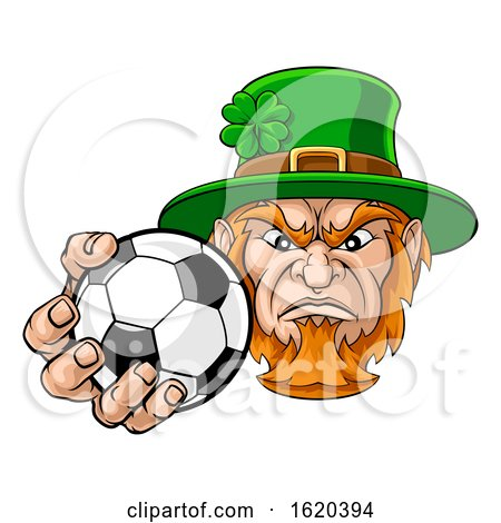 Leprechaun Holding Soccer Ball Sports Mascot by AtStockIllustration