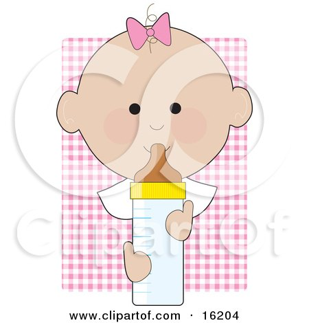 Baby Girl With A Pink Bow On The Top Of Her Head, Holding A Baby Bottle Clipart Illustration Image by Maria Bell