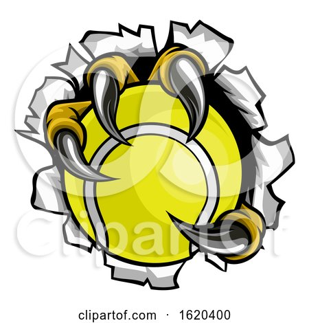 Tennis Ball Eagle Claw Talons Tearing Background by AtStockIllustration