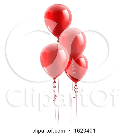 Red Party Balloons Graphic by AtStockIllustration