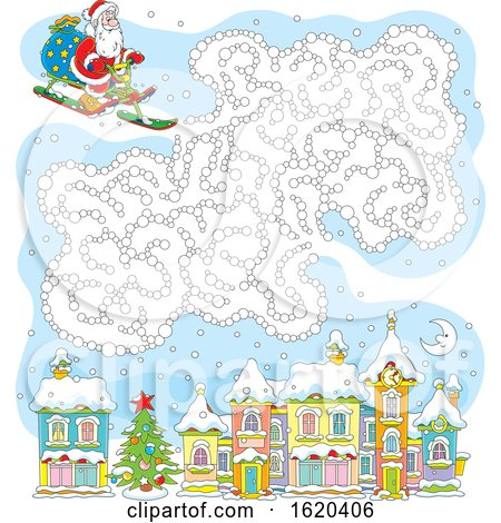 Sledding Santa with a Cloud Maze over a Town by Alex Bannykh
