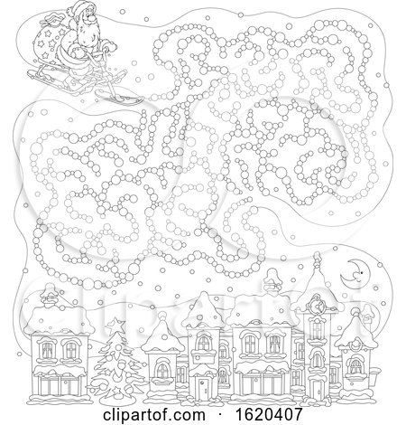 Black and White Sledding Santa with a Cloud Maze over a Town by Alex Bannykh
