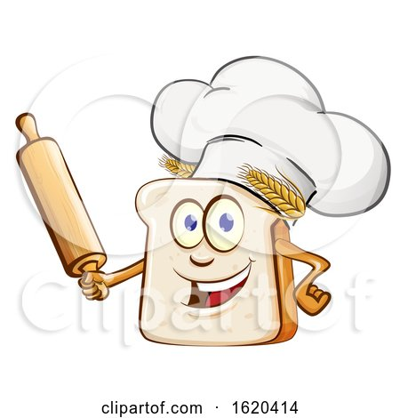 Chef Bread Mascot Holding a Rolling Pin by Domenico Condello