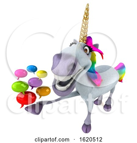 3d Unicorn on a White Background by Julos