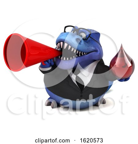 3d Blue Business T Rex Dinosaur, on a White Background by Julos