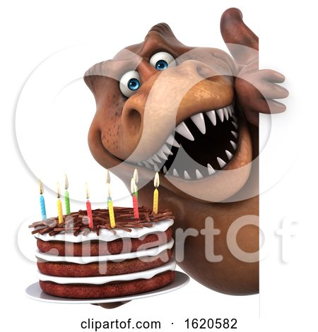 3d Brown T Rex Dinosaur, on a White Background by Julos