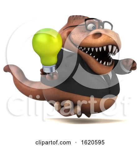 3d Brown Business T Rex Dinosaur, on a White Background by Julos