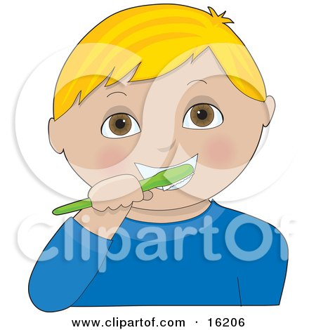 Little Blond Haired Brown Eyed Boy Wearing A Blue Shirt, Brushing His Teeth With A Green Toothbrush Clipart Illustration Image by Maria Bell