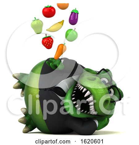 3d Green Business T Rex Dinosaur, on a White Background by Julos