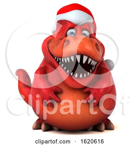 3d Red Christmas T Rex Dinosaur, on a White Background by Julos