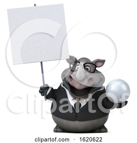 3d Business Rhinoceros, on a White Background by Julos