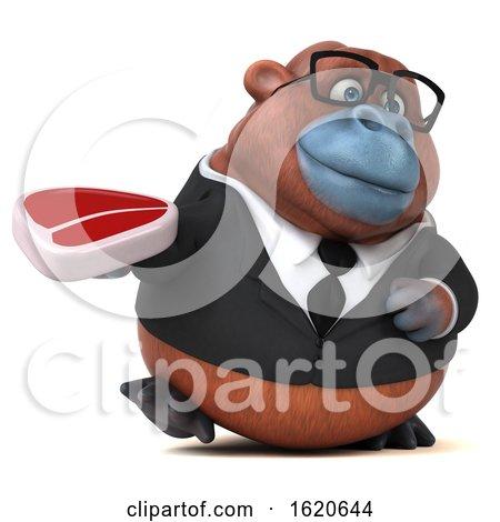 3d Business Orangutan Monkey, on a White Background by Julos