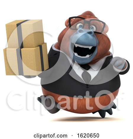 3d Business Orangutan Monkey, on a White Background by Julos