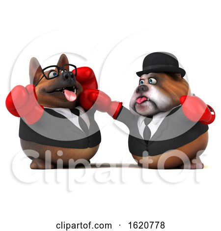 3d Business German Shepherd and Bulldog Wearing Boxing Gloves, on a White Background by Julos