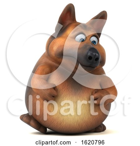 3d German Shepherd Dog, on a White Background by Julos