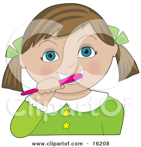 Little Brown Haired Blue Eyed Girl With Her Hair In Pig Tails, Tied Back With Green Bows, Wearing A Green Dress And Brushing Her Teeth With A Pink Toothbrush Clipart Illustration Image by Maria Bell