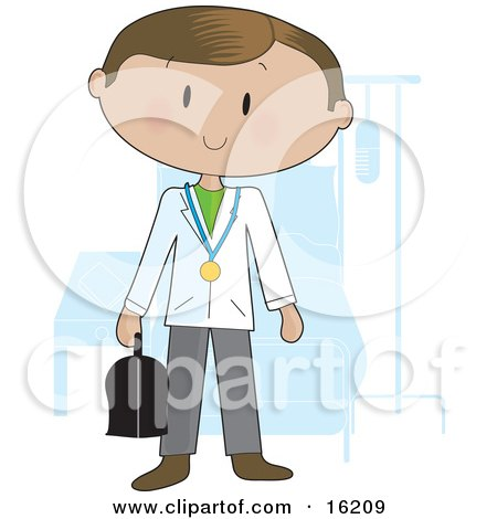 Friendly Male Doctor Wearing A Stethoscope Around His Neck And Carrying A Medical Bag While Standing In Front Of A Patient's Bed In A Hospital Room Clipart Illustration Image by Maria Bell