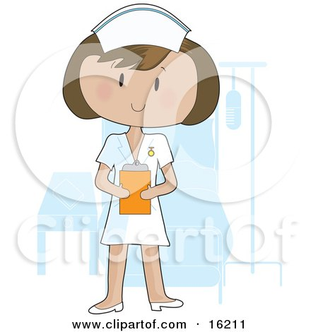 Friendly Female Nurse Wearing A White Uniform And Holding A Clipboard While Standing In Front Of A Patient's Bed In A Hospital Room Clipart Illustration Image by Maria Bell