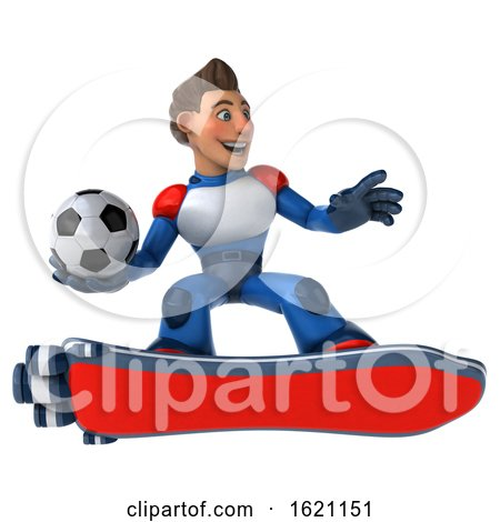 3d White Male Super Hero in a White Blue and Red Suit, on a Hover Skateboard, on a White Background by Julos