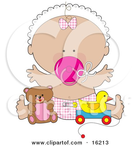 Happy Baby Girl In A White Bonnet, Checkered Bow And Diaper, Sucking On A Pink Pacifier And Holding Her Arms Out While Playing With Toys In A Nursery Clipart Illustration Image by Maria Bell