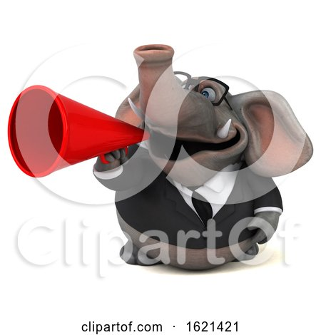 3d Business Elephant, on a White Background by Julos