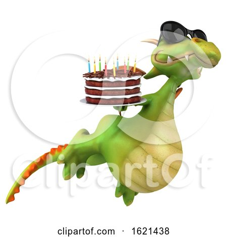 3d Green Dragon Holding a Birthday Cake, on a White Background by Julos