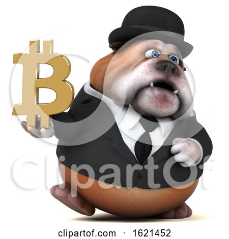 3d Gentleman or Business Bulldog, on a White Background by Julos