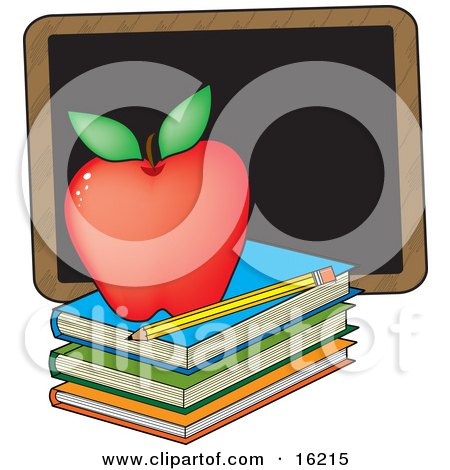 Perfect Red Apple Sitting On Top Of A Stack Of School Books Near A Pencil And Chalkboard On A Teacher's Desk Clipart Illustration Image by Maria Bell