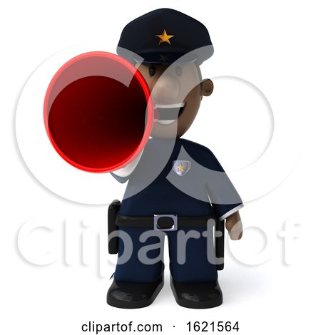 3d Black Police Officer, on a White Background by Julos