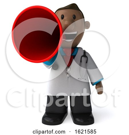 3d Short Black Male Doctor, on a White Background by Julos
