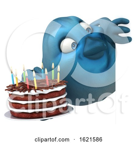 3d Blue Bird Holding a Birthday Cake, on a White Background by Julos