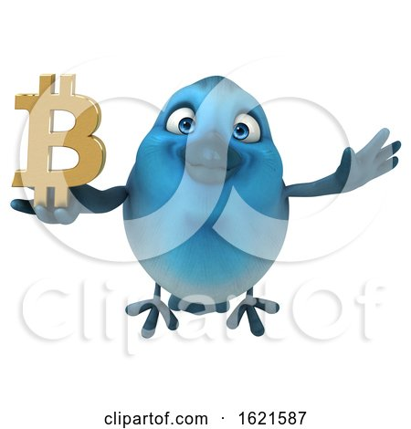 3d Blue Bird Holding a Bitcoin Symbol, on a White Background by Julos