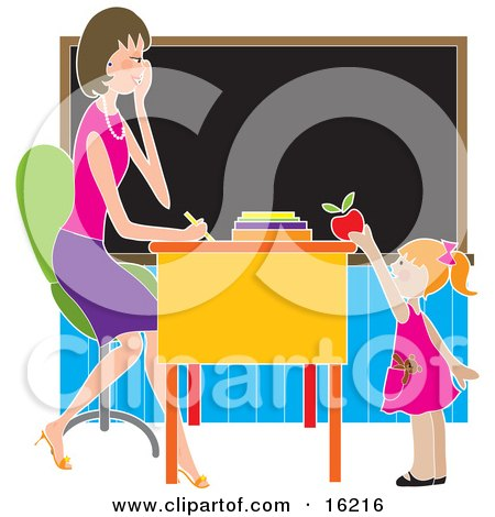 Sweet Or Brown Nosing Red Haired School Girl Standing In Front Of Her Female Teacher's Desk In A Classroom, Putting A Red Apple On The Desk Clipart Illustration Image by Maria Bell