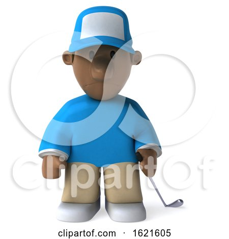 3d Black Male Golfer, on a White Background by Julos