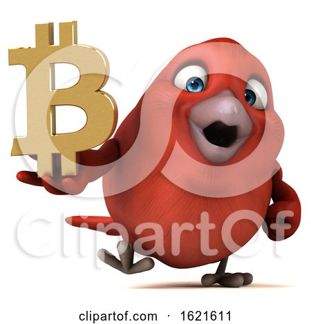 3d Red Bird Holding a Bitcoin Symbol, on a White Background by Julos