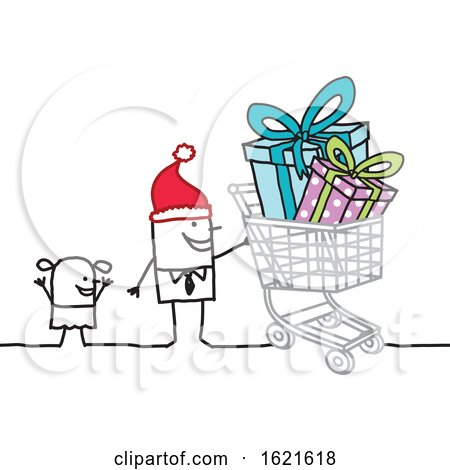 Stick Man Wearing a Santa Hat and Christmas Shopping with a Girl by NL shop