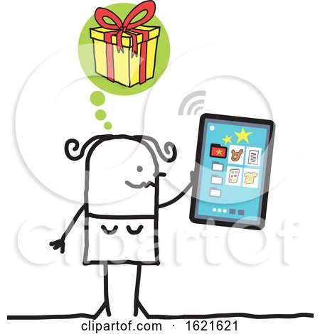 Stick Woman Hristmas Shopping on a Smart Phone by NL shop