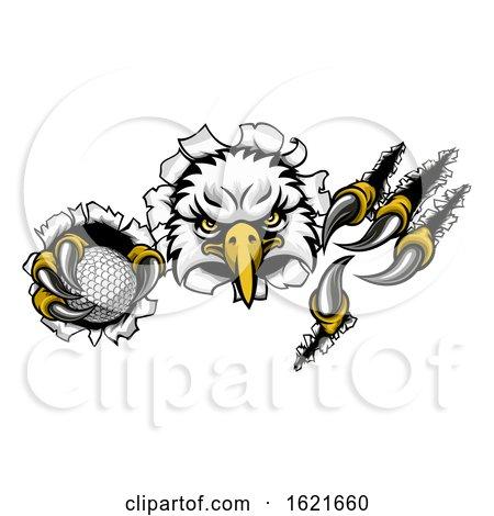 Eagle Golf Cartoon Mascot Ripping Background by AtStockIllustration