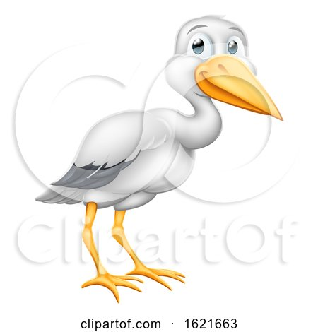 Stork Cartoon Pregnancy Myth Bird with New Baby by AtStockIllustration