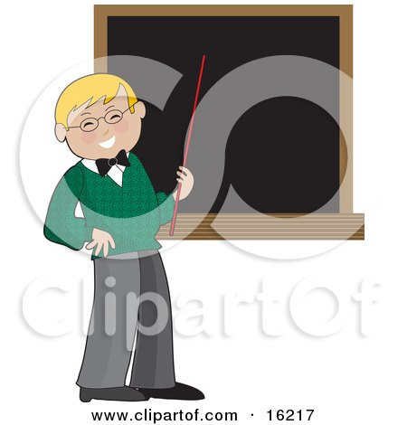 Happy Blond Male School Teacher In A Green Sweater, Holding A Red Pointer Stick Up To A Blank Blackboard In A Classroom Clipart Illustration Image by Maria Bell