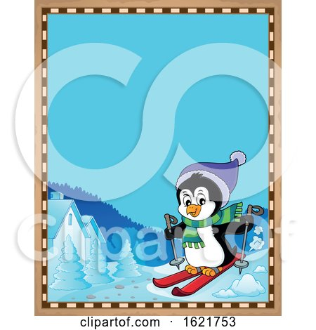 Christmas Penguin Skiing Border by visekart