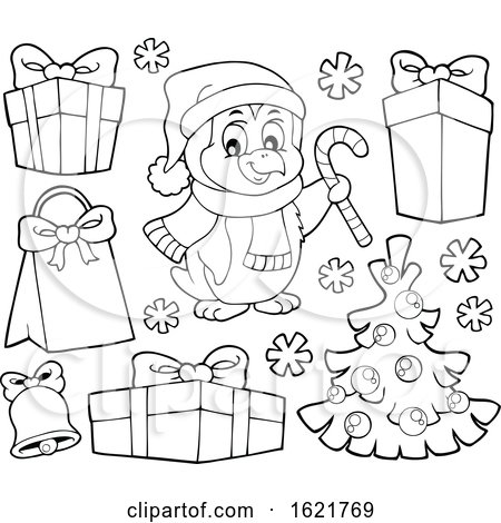 Christmas Penguin and Gifts in Black and White by visekart