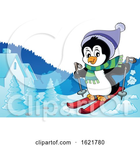 Christmas Penguin Skiing by visekart