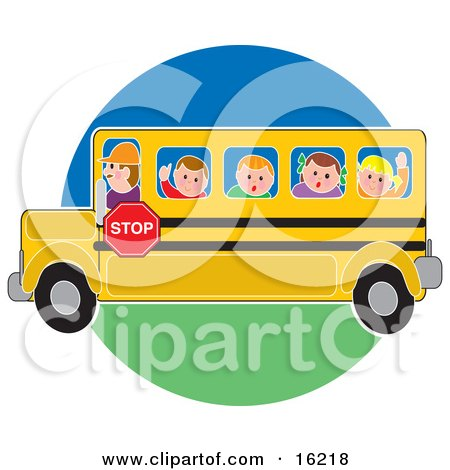 School Bus Driver Man Driving School Children To Or From School Clipart Illustration Image by Maria Bell