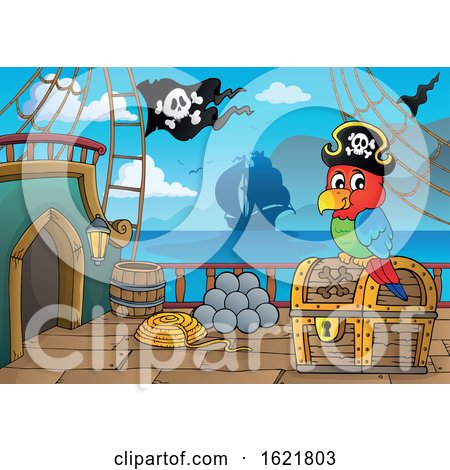 Pirate Parrot on a Ship Deck by visekart