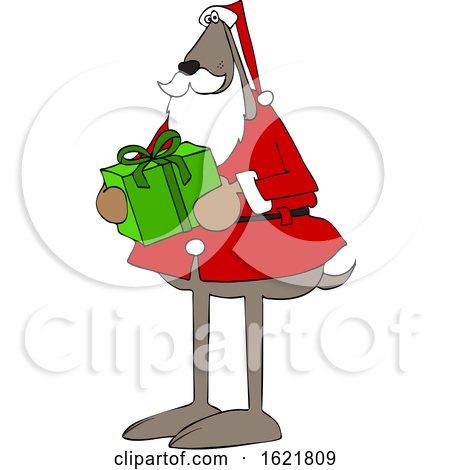 Cartoon Santa Dog Holding a Christmas Present by djart