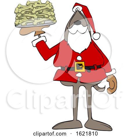 Cartoon Santa Dog with a Platter of Dog Bone Biscuits by djart