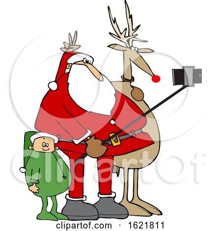 Cartoon Santa Taking a Christmas Selfie with a Reindeer and Elf by djart