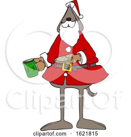 Cartoon Santa Dog with Milk and a Cookie by djart