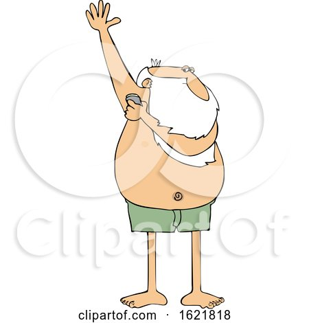 Cartoon Santa Claus Applying Deodorant by djart